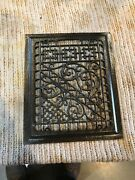 Rg 15 Antique Cleaned And Lacquered Cast-iron Heating Grate Face 9.75 X 11.75