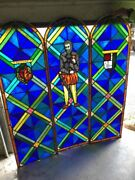 Mar 211 Three-piece Arched Stain Glass Figural Landing Set 18.25 X 58 Each