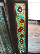 Sg 1639 Antique Stainglass Floral Jeweled Transom Window 16 X 64