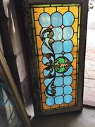 Sg 1010 Antique Stain Glass Transom Window Curly Cue 21.25 X 45