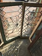 Sg 2595 Matched Pair Antique All Beveled Glass Transom Window 24.25 X 40.25