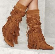 Free People Jeffrey Campbell Esconder Fringe Suede Boot Size 7