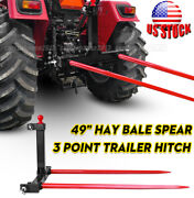 1 Tractors 3 Point Trailer Hitch Quick Attach Bale Spear + 2x 49andrdquo Hay Bale Spear