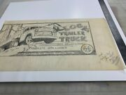 Marx Log Trailor Truck Rare Box Art Work From 1957 One Of A Kind