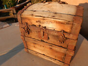 Rare 1800s Antique Wooden Steamer Trunk, Dome Pirate Chest