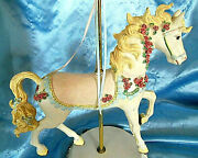 Large Ceramic And Brass Pole Carousel Horse 18