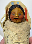 """6"""" Mary Frances Woods Papoose Native American Doll Indian Doll Suede Cradleboard"""