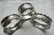 3 Antique Sterling Silver Chester Birmingham England Repousse Napkin Rings
