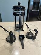 Bodum French Coffee + 2 Cups Glass Black Handle And Spoons 1 Measure Spoon