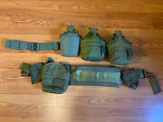 Military Surplus Lot 3 Canteens, 2 Belt, Extra Pouch's Green Air-soft Vintage