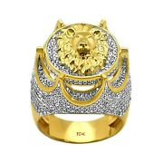 1.44ct Pavandeacute Diamonds In 10k Yellow Gold Crown Lion Signet Menand039s Ring Size 9-11