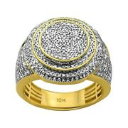1.05ct Pavandeacute Diamonds In 10k Yellow Gold Round Signet Menand039s Ring Size 9-11
