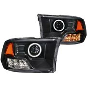 Anzo Halo Projector Led Headlights For 09-17 Dodge Ram 1500 10-17 2500 3500