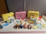 Vintage Cabbage Patch Kids Minis Toy Lot With Playsets And Accessories