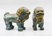 Antique Chinese Pair Cloisonne Fu Lions 9 X 8 Inches - 🐘