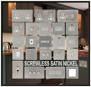 Eurolite Screwless Brushed Satin Nickel Double Sockets And Light Switches Bg 114