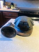 Vintage Leather Turtle Shell Miners Hat Helmet With Brass Autolite Carbide Lamp