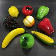 9pc Lot Vintage Murano Style Glass Decorative Fruits And Vegetables