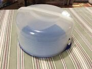 Tupperware Round Cake Taker Carrier Blue And Sheer Dome Top Tall Large