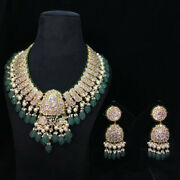 23k Gold Diamond Polki Carved Long Melons And Lustrous Pearl Long Necklace Set