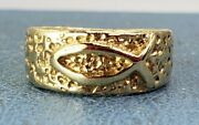 James Avery Retired 14k Ichthus Nugget Bark Finish Ring Size 6.25 Lowest Price
