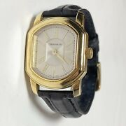 Vintage And Co 18k Gold And Alligator Leather Watch