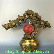 13.2 China Copper Red Crystal Ball Feng Shui Money Tree Wealth Luck Statue