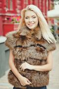 Fox Fur Short Vest For Women Sleeveless Jacket For Girls Real Fur Coat Brown