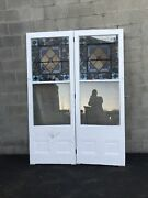 Cm 711 Pair Antique Stained Glass Double Doors 64 X 88.5 X 1 5/8