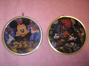 Disney Mickey Minnie Pluto And Millennium Stained Glass Look Christmas Ornaments