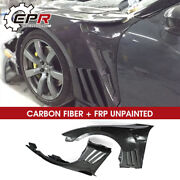 For Nissan Skyline Gtr R35 Frp Unpainted Front Fender With Carbon Louver Fin Kit