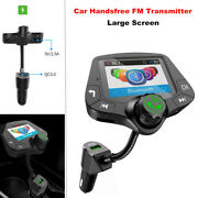 Car Handsfree Fm Transmitter Large Screen Multifunction Bluetooth Mp3 Usb Charge