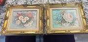 One Pair Original Hedy Oil Paintings On Canvas Flowers Signed 8x10 Frame 15x13