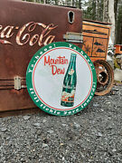 Large 24 Inch Embossed Vintage Style Mountain Dew Soda Sign