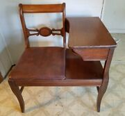 Vintage Antique Mid-century Telephone Table And Chair Desk Dark Wood Cool Design