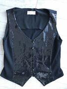 St. John Evening By Marie Gray Sequined Vest Buttons Size Large