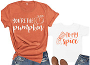 You're The Pumpkin To My Spice Mother Son Daughter T-shirt Sets Pumpkin Mommy An