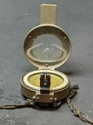 Ww2 Pasto Germany Handheld Marching Compass Army Green Painted Brass Folding