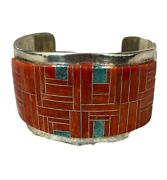 Vintage Native American Sterling Silver Cuff Bracelete Signed By H Jim Weights