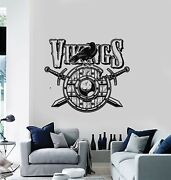 Vinyl Wall Decal Shield Swords Ship Middle Ages Viking Raven Stickers G4556