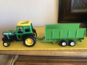 """Buddy L Tractor 6.5"""" Long And New Ray Dump Trailer 8.25"""" Long Used"""