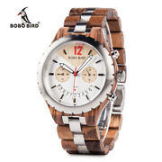 Luxury Metal Wood Watches Stainless Steel Date Xmas Wedding Gifts For Him Mens