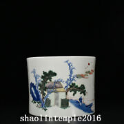 7.8 China Antique Qing Dynasty Blue And White Character Landscape Pen Container