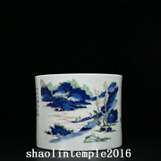 8china Antique Qing Dynasty Blue And White Multicolored Landscape Pen Container