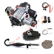 Complete 2 Stroke 49cc 47cc Engine Motor Kit Exhaust Gas Tank Chain Kill Switch