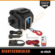 12v Portable Boat Electric Winch Tow Towing Synthetic Rope Truck Trailer 5000 Lb