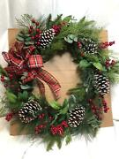 Oversized 28 Pinecone And Berry Wreath By Valerie