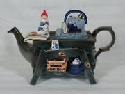 Rare Vintage Paul Cardew Large Blue Willow W/ Gnome Gardening Table Teapot New