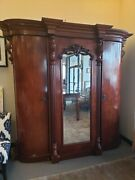 French Antique Mahogany Breakdown Armoire With Mirror 19th Century