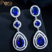 Luxury White Gold Royal Blue Tear Drop Earrings Bridal Xmas Gifts For Her Women